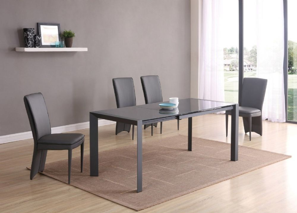 GA SICILY Grey Glass EXTENDING 120 / 180 cm Table & Chairs - 4 Colours